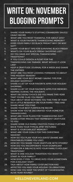 Write on: November blogging prompts (via Bloglovin.com )