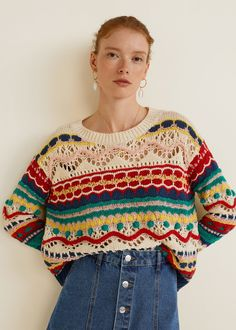 Discover the latest trends in Mango fashion, footwear and accessories. Shop the best outfits for this season at our online store. Pull Crochet, Knit Crochet, Motif Bikini, Cardigan Au Crochet, Mein Style, Summer Knitting, Baby Knitting, Cotton Skirt, Cotton Fabric