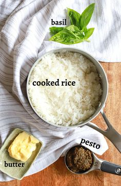 How to make quick and easy pesto rice! This DELICIOUS vegetarian and gluten free side dish uses homemade or store-bought pesto for a quick and easy way to jazz up plain white rice. This side dish is done in 30 minutes or less, the perfect amount of time for quick pan seared chicken and broiled veggies for a fast gluten free dinner!