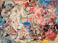 Cecily Brown, High Society, 1998     From the Saatchi Gallery: High Societyreads like an F. Scott Fitzgerald orgy: little men in tails and top hats, muscle-bound millionaire hunks pulling themselves to climax, indiscernible bits of sensuous bodies, detached penises, the allusion of gossipy dinner-party crowds. Set against a lavish gold-and-blue background, Cecily Brown's fantasy is a rich girl's predilection – a notch in her bedpost for Cézanne and early Pollock.