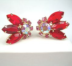 Red Rhinestone Earrings Clipbacks Vintage by AtticDustAntiques, $20.00