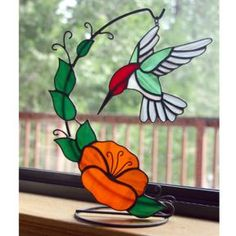 humming bird stained glass