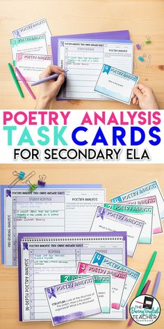 Poetry Analysis Task Cards : Engage your students in poetry analysis with these poetry analysis task cards. These task cards work with any poem and are a great addition to any middle school ELA or high school English poetry class. Poetry Classes, Poetry Lessons, High School Pictures, Poetry Unit, Teaching Poetry, Middle School Ela, High School English, English Classroom, Task Cards