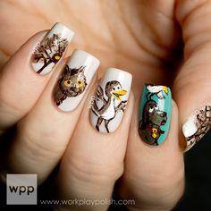 Nail art you can actually do yourself! Nails Book Week (Jun Are You My Mother? Nail Art with Essie Marshmallow, Essie Where's My Chau. Daisy Nail Art, Daisy Nails, Glam Nails, Nail Manicure, Indian Nails, Rasta Nails, Are You My Mother, Gothic Nails, Manicure