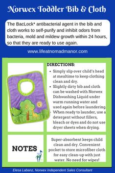 Norwex's Toddler Bib is so soft and absorbent - with our BacLock it's just about perfect. #nomadmanor #babygifts #norwexproducts #ecofriendly