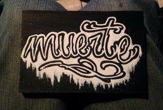 Muerte in tha wood! Brain Tattoo, Calligraphy, Ink, Lettering, Tattoos, Wood, Tatuajes, Woodwind Instrument, Tattoo