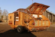 "Living in a shoebox | Fantastic-looking steampunk teardrop trailer comes equipped with a chandelier and ""library"""
