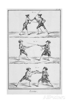 Plate Showing Fencing Positions from Denis Diderot