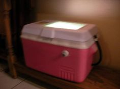 homemade chicken incubator - cooler, 60 watt light bulb, dish of water, thermometer. 90* all times, mark eggs on one side and turn them 3 times a day for 21 days. Make sure water in dish at all times. Should get chickens. :)
