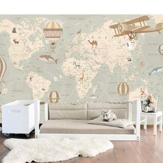WallpaperAdhesive VinylWorld Map with Map Nursery, Travel Nursery, Animal Nursery, Nursery Room, Nursery Decor, Nursery Ideas, Baby Bedroom, Baby Boy Rooms, Baby Boy Nurseries