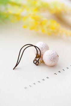 Pink Pearl Dangle Earrings Simple Pearl Earrings by MeMadeJewels