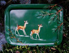 Vintage Serving Tray with Deer Rustic Primitive