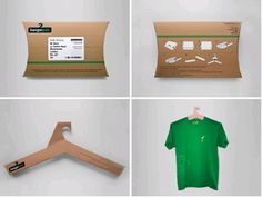 reusable-packaging-hangerSteve Haslip designed the HangerPak, so that the packaging that holds the product can also be used for the product; the package transforms into a hanger for the t-shirt inside