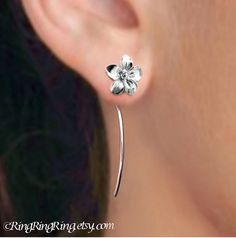 925 Long stem Plumeria flower earrings A pair of by RingRingRing -- $39.00