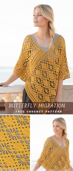 The Great Crocheted Summer Butterfly Poncho F… Butterfly Migration Summer Poncho. The Great Crocheted Summer Butterfly Poncho Free Pattern Poncho Knitting Patterns, Knitted Poncho, Knitted Shawls, Crochet Scarves, Crochet Clothes, Shawl Patterns, Crochet Patterns, Skirt Patterns, Lace Dress Pattern