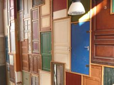 Wall Of Doors Arched Old Windows And Cafe Interior