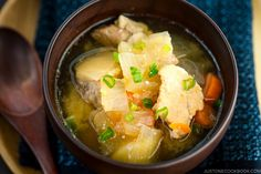 Tonjiru is a savory pork and vegetable miso soup with an excellent source of B vitamins, fiber, and minerals and it's nourishing and oh-soul-fulfilling! Japanese Vegetables Recipe, Easy Japanese Recipes, Asian Vegetables, Japanese Food, Japanese Meals, Veggies, Pork Recipes, Asian Recipes, Crockpot Recipes