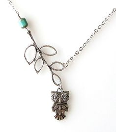 Antique Sterling Silver Owl and Leaf Branch Necklace with Long Chain b11b7c348519