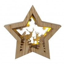 Wood Star Decoration With Led Light