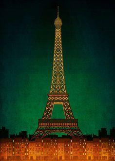 Paris illustration  PARIS by night  Fine art by tubidu on Etsy, $20.00