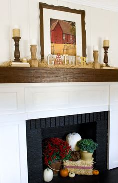 Since I don't use my fireplace here in Florida, I think this example may be a great inspiration for some seasonal fireplace displays!