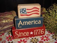 AMERICA SINCE 1776 Flag Patriotic Americana Decor Summer Wood Sign Shelf Blocks Primitive Country Rustic Home Decor Gift. $24.95, via Etsy.