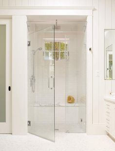 Large white tile shower with bench, steam shower, and window for natural light - traditional - Bathroom - San Francisco - Rasmussen Construction Bathroom Renos, Small Bathroom, Master Bathroom, Master Shower, White Bathroom, Shower Bathroom, Bathroom Ideas, Bathroom Beadboard, Tile Showers