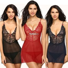 Women'S Lace Lingerie Strap Dress Underwear Babydoll Sleepwear High Quality Es9P