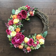 Spring Wreaths for Front Door, Mothers Day Gift Ideas, Spring Wreath, Gift For Mom From Daughter, Spring Door Decor, Spring Wall Decor