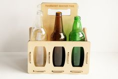 BEER CARRIER alcohol carrier wooden beer case by laserlightstudio Wine Carrier, Birch Ply, Beer Packaging, Outdoor Stuff, Laser Cutting, Natural Wood, Cnc, Project Ideas, Alcohol