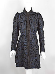 Pingat beaded faux fur/wool coat, 1890s
