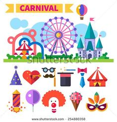 Carnival in amusement park. Laughter, smiles, children, sweets. landscape with a Ferris wheel, roller coaster, carousel, castle. clown, party poppers, tent. Vector flat icon set and illustrations