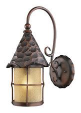Landmark 385-AC Rustica One Light Outdoor Sconce in Antique Copper with Scavo Glass