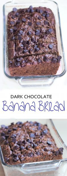 Dark Chocolate Banana Bread - Low-fat, low-calorie, dairy-free, egg-free, and NO refined sugar! Vegan Sweets, Vegan Desserts, Healthy Desserts, Just Desserts, Delicious Desserts, Dessert Recipes, Yummy Food, Healthy Breakfasts, Low Calorie Desserts