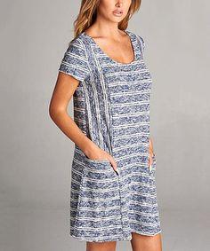 Love this Navy & White Stripe Pocket Shift Dress on #zulily! #zulilyfinds