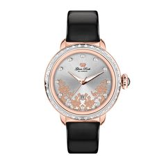 Glam Rock Watches / Rose Gold IP Stainless Steel Case Cover with Diamonds and Genuine Patent Leather Black Strap