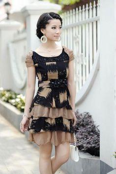 cute black and tan dress