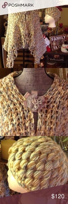NEW HANDMADE SHAWL WITH MATCHING HAT Absolutely marvelous !  I love, love, love this shawl. Comes with pin and matching hat! A must have! A fabulous gift too! Cream and gray shades. Lace like fringes. handmade Accessories Hats