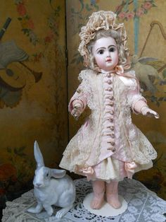 ~~~ Pretty French BeBe Silk Costume with Bonnet ~~~ from whendreamscometrue on Ruby Lane