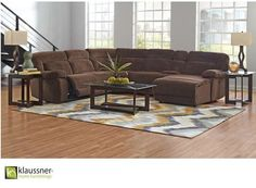 Sit Back & Relax w/this Oversized 6-PC Chocolate Sectional Recliner & Chaise for Maximum Comfort | Luther Appliance and Furniture