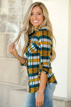 e9a12bf3f84662 Pretty in Plaid Mustard Button Down Top