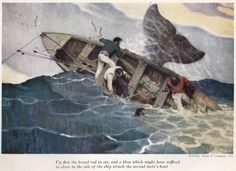 Mead Schaeffer.  Whaleboat being capsized by a whale's fluke.