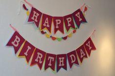 Large Rainbow Felt HAPPY BIRTHDAY Banner  / by StringDearieStudio, $117.00