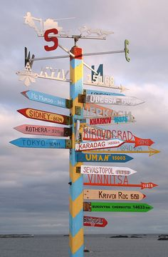 On the Ukrainian base Vernadsky on Antarctica you can find this sign post directing you not only to cities in the Ukraine, but also to London, Tokyo and Sydney.