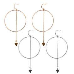 Big Circle and Chain Drop Earrings