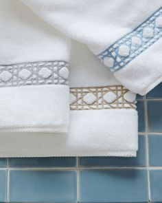 Shop Cane-Embroidered Bath Towels from Matouk at Horchow, where you'll find new lower shipping on hundreds of home furnishings and gifts. Bath Linens, Bath Towels, Bathroom Towels, Master Bathroom, Neutral Bed Linen, Bathroom Accessories Luxury, Towel Dress, Embroidered Towels, Decorative Towels