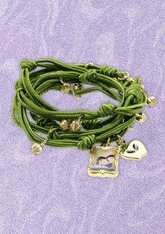 DISNEY COUTURE Green/Gold Snow White Wrap Charm Bracelet