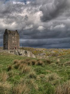 """Smailholm Tower, near Kelsoe, Scotland ~ a peel tower that belonged to the surname of Pringle. """"In times of near anarchy, they (peel towers - PD) provided refuge for heidsmen and local lords who could afford to have one built."""" (quote & info fm """"The Reivers"""" p59, by Alastair Moffat) picture by Longyester on Flickr."""