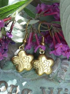 RESERVED  Vintage Brass Locket Earrings by SheilasBlessings, $10.00