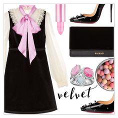 """Velvet dress"" by simona-altobelli ❤ liked on Polyvore featuring Gucci, Christian Louboutin, Balmain, Guerlain, MyStyle, velvet and polyvorecontest"